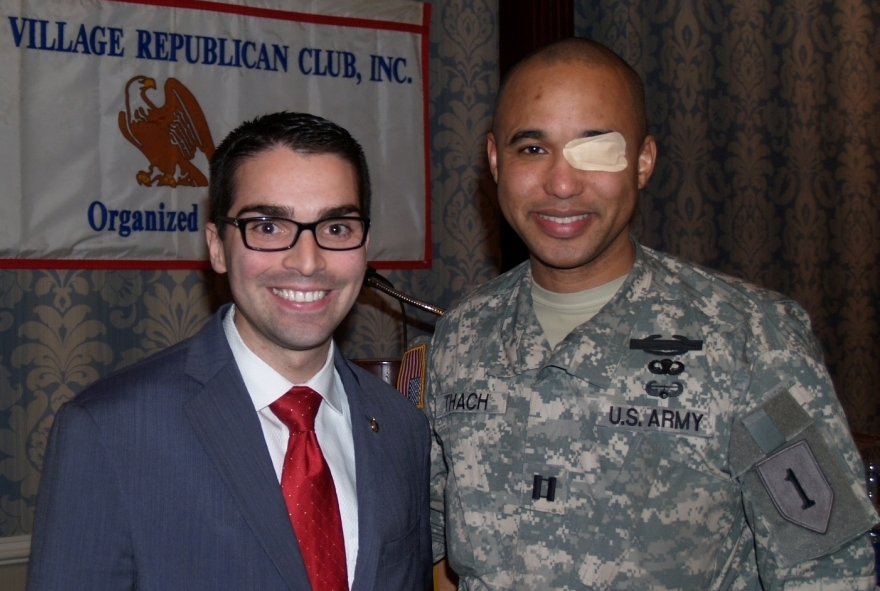 LTC Peterkin's son, Cpt. James Van Thach (Ret.) U.S. Army with Councilman Eric Ulrich