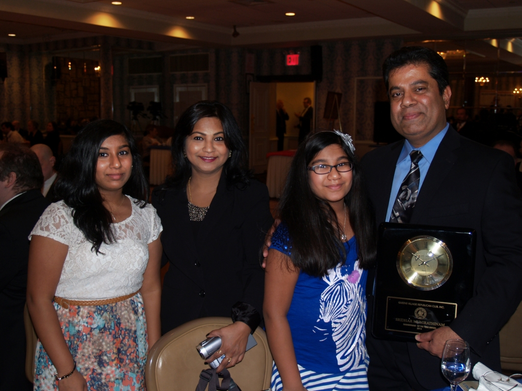 Sridhar Munirathinam, Businessman of the Year, with family