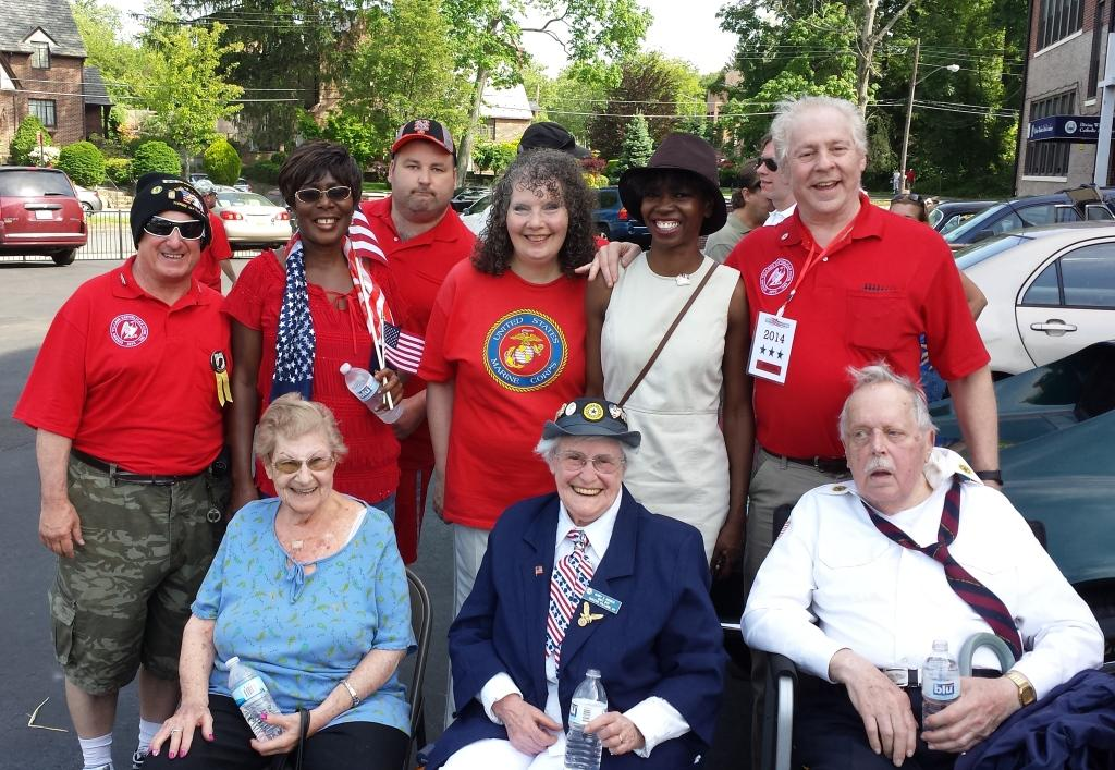QVGOP marchers including the car riders, the Moders and Arlene Mooradian who