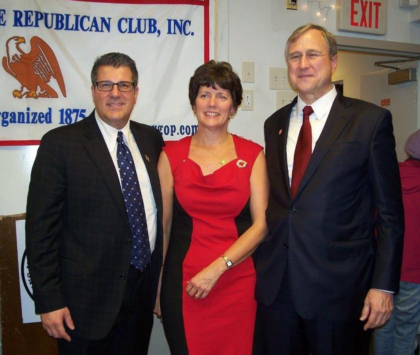 Catherine Donohoe, presdietn Bridge to Life, with GOP candidate Mike Conigliaro and Chairman Cox