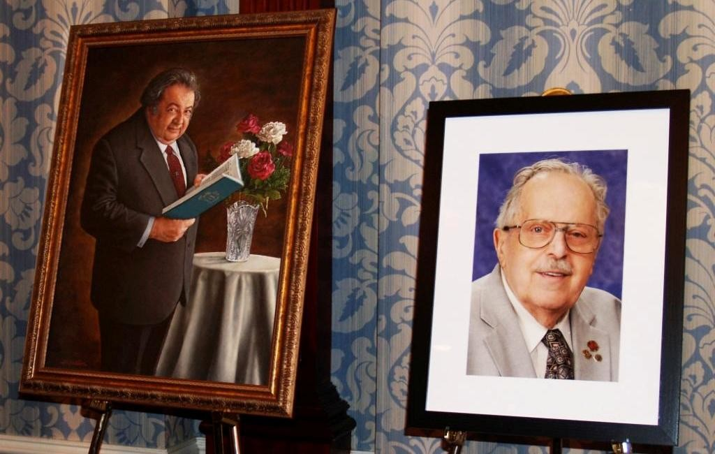 Rabbi Pomerantz and Harvey Moder portraits