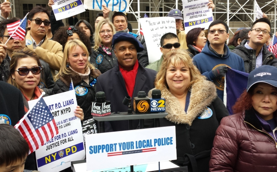Speakers at the rally: Janet Maderik, wife of New York City Police Officer, Ann Schockett, President NYS Federation of Republican Women, Deroy Murdock, FOX News commentator, Christine Porter, wife of a New York City Police Sergeant