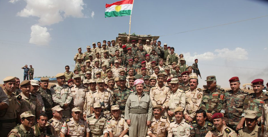 President Barzani as the Chief of Commander of Peshmerga Forces in the Front Line Fighting ISIS. Photo credit: waarmedia.com